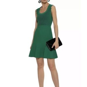 Diane Von Furstenberg Green Adi Flared Dress 10
